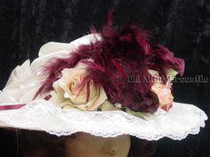 Downton Abbey Edwardian Victorian style Elsie Massey ivory and wine Hat 508 #ElsieMassey #Edwardian