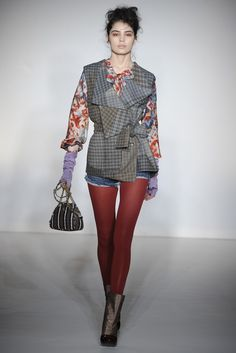 Mixed prints and warm wrists at Vivienne Westwood Red Label RTW Fall '12. LOVE.