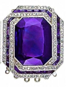 Art Deco amethyst & diamond clasp. Reminds me of a ring I once had and beat up as a kid, but it had no diamonds!