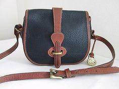 Dooney & Bourke Vintage All Weather Leather AWL Saddle Bag Flap Over Crossbody