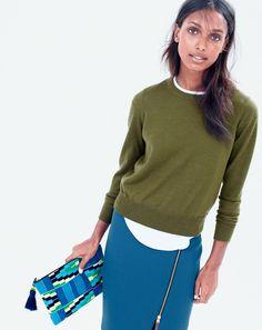 J.Crew women's Tilly sweater, zip pencil skirt, and Aztec woven clutch.  skirt!