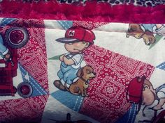 Farmer Boy with Puppy and Tractor Print  and Red Swirl Minky Baby Blanket by SnuggleBugZZZ