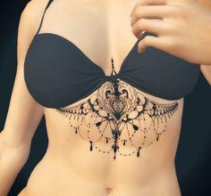 Sternum mandala #black #stomach #dotwork #dotworktattoo #lines #native #underbreast #underboob #ornamental #sternum #etnhic