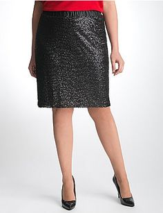 54 days until Christmas, are you ready?  Give your gams some glam in this sensational pencil skirt embellished with matte sequins for subtle shine. Full-on fabulous with all the right moves, the body-skimming pencil silhouette sits at the natural waist with the perfect knee length - so flattering! Satiny elastic waistband and lining. lanebryant.com