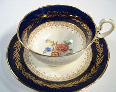 Aynsley Cobalt Blue and Gold Tea Cup and Saucer, English Cobalt Blue and Yellow Tea cup and Saucer, Fine Bone China.