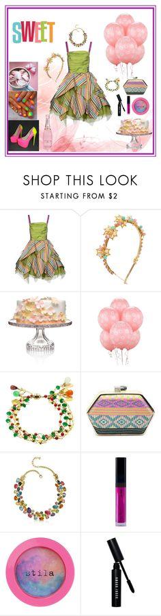 """Happy Birthday Party"" by oksana-kolesnyk ❤ liked on Polyvore featuring Alex Vidal, Eugenia Kim, Waterford, Forzieri, Stila and Bobbi Brown Cosmetics"
