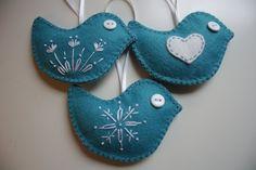 Felt Bird Christmas Ornaments - Set of 3. $22.00, via Etsy.