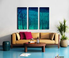 Triptych, 3 split, stretched, canvas, multi panel, prints, painting, forest,scene,woods,landscape,nature,trees,night,nocturnal,sky,forestscape,nightscape,moonlight,stars,vision,tranquil,peaceful,serene,moody,nostalgic,romantic,poetic,melancholic,teal,green,blue,shades,vivid,colors,monochromatic,beautiful,unique,fantasylike,cool,realism,realistic,of,in,at,a,by,the,fine,art,oil,images,artworks,decor,artistic,items,products,for sale,pictorem,winter silence