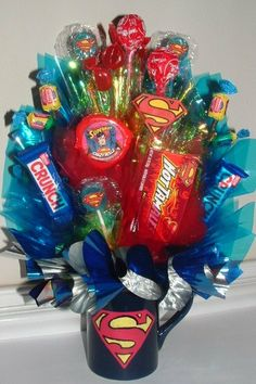 This listing is for One: SUPERMAN Candy Bouquet Centerpiece! With each stem of candy/candies being passed out as a Party Favor to your Guests, Your Gift Bouquet, Cookie Bouquet, Creative Gifts, Cool Gifts, Candy Bar Poems, Chocolates, Candy Arrangements, Candy Grams, Candy Boutique