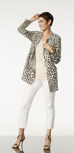 Want This Chicos Size 2 Leopard Duster Boyfriend Jacket