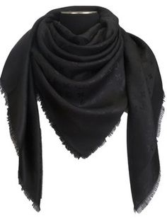 Louis Vuitton NEW! LOUIS VUITTON Monogram Black Silk/Wool Shawl Scarf