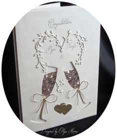 Shaker Wedding card with floral heart wreath and champagne glasses. Shaker Wedding card with floral heart wreath and champagne glasses. STEP-BY-STEP INSTRUCTIONS and PHOTOS to Knit a Bunny. 50th Anniversary Cards, Wedding Congratulations Card, Wedding Cards Handmade, Card Wedding, Engagement Cards, Cricut Cards, Shaker Cards, Heart Cards, Homemade Cards
