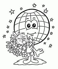 cute globe earth day coloring page for kids coloring pages printables free wuppsy
