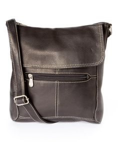 This Black Front-Flap Leather Crossbody Bag is perfect! #zulilyfinds