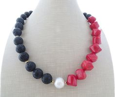 Red coral necklace with pearl chunky necklace by Sofiasbijoux