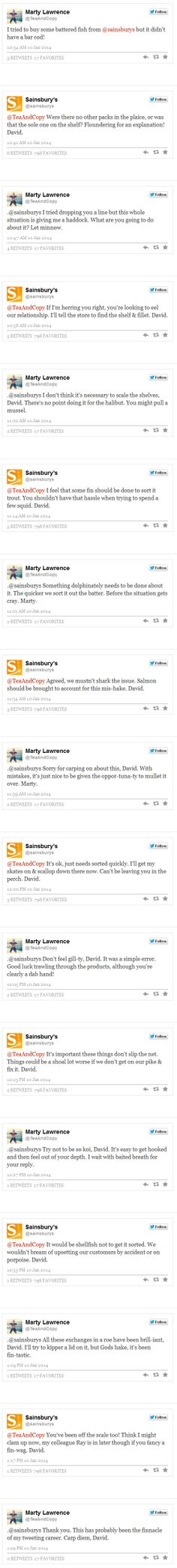 Sainsbury's has a epic, pun-filled conversation with customer Marty Lawrence