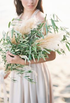 Herb Wedding Bouquet with Olive Branches