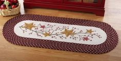 Amazon.com: Country Primitive Stars And Berries Braided Runner By Collections Etc: Home & Kitchen