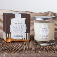 """Take the spa experience home with our Soy Delicious """"Field of Calm"""" candle. Available for purchase in our spa."""