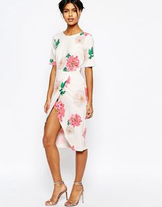 ASOS Occasion Wiggle Dress In Floral Print With Wrap Front