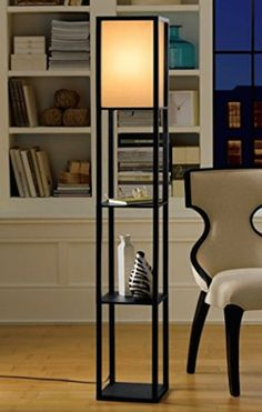 Floor Lamps For Living Room With Shelves For Reading Black Wood White Shade NICE