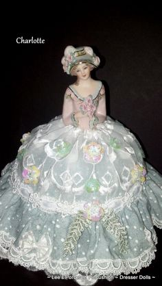 Porcelain Half Doll Pincushion  Dresser by leesvintagetreasures, $125.00