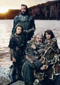 The Hound, Arya Stark, Hodor and Bran Stark. Very odd choice in putting these guys together as they're in very different places. #GameOfThrones