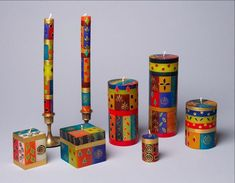 Handmade Christmas candles hand poured and hand painted in South Africa. Fair trade home decor. Traditional holiday designs in 7 sizes – the candles all have a beautiful Christmas glow from inside when burning. Shabbat Candles, Hanukkah Candles, Hanukkah Gifts, Fall Candles, Christmas Candles, Jewish Celebrations, Christmas Colors, Christmas Traditions, Beautiful Christmas