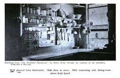 Period Kitchen Photographs. From The Efficient Kitchen by G.B. Child, 1914. Lots of clear glass jars used for storing food. Also the vertical wall space is covered in utensils.