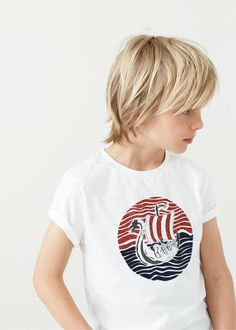 T-shirt coton image - Garçon Boys Long Hairstyles Kids, Boy Haircuts Long, Toddler Boy Haircuts, Toddler Hair, Boy Hairstyles, Haircuts For Men, Medium Hair Cuts, Long Hair Cuts, Long Hair Styles