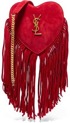 Saint Laurent - Love Small Fringed Suede Shoulder Bag - Red