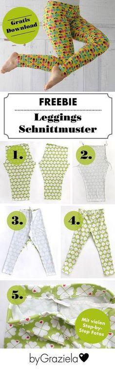 Kostenlose Leggings-Schnittmuster für Damen und Kids - jetzt bei uns auf dem Blog. Mit detaillierter Anleitung perfekt für Nähanfänger geeignet.