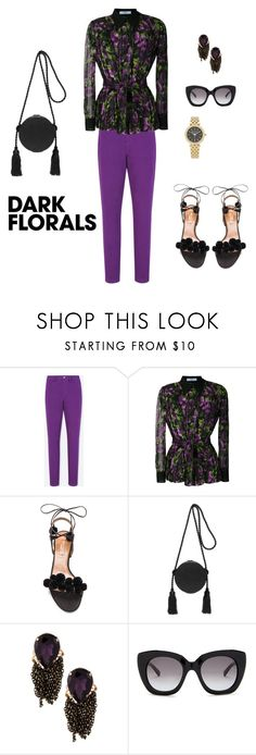"""Dark Florals"" by sebolita ❤ liked on Polyvore featuring Uniqlo, Prada, Aquazzura, Hillier Bartley, 14th & Union, Kate Spade and Michael Kors"