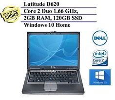 Dell Latitude D620 14.1 Inch Business Laptop (Intel Core 2 Duo Dual-Core 1.66GHz 2GB RAM 120GB Solid State Drive DVD Wifi Windows 10 32-Bit) (Certified Refurbished)