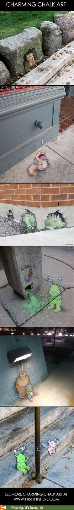The most adorable street art ever. See more at http://www.ifitshipitshere.com/street-artist-david-zinn/