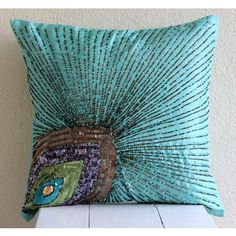 Decorative Throw Pillow Covers Accent Couch Pillow Cases 20x20 Inch Silk Pillow Cover Embroidered Peacock Grace Bedroom Home Decor Bedding