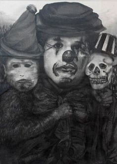 """Beth Carter, Watching the Magic, Charcoal On Paper, 31½"""" x 23½"""" #art #drawing #magicalrealism #clown #bdgny #skeleton #monkey"""
