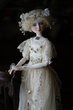 Porcelain doll by Oksana Saharova. Muse. porcelain, 65cm. Collection Muses by Alphonse Mucha