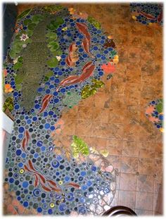make this for bathroom floor...this would have to go on a wall, as the floor was just done before I saw this.  Oh, well! Can't win 'em all.