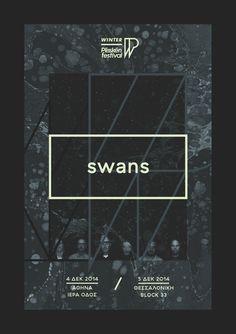 "Winter Plisskën Festival 2014 ""Swans"" poster by Sébastien Nikolaou www.sebdesign.eu"