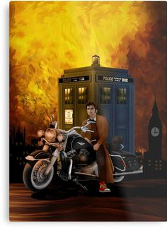 Time and space traveller with Big Motorcycle Metal Prints #metalprint #metal #print #doctorwho #10thdoctor #davidtennant #tardis #summer #tenthdoctor #halloween #vangogh #starrynight #mist #fog