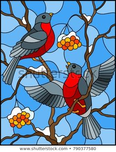 Illustration in stained glass style with a pair of birds bullfinches on snow-covered mountain ash branches with berries on a background of the sky Stained Glass Quilt, Faux Stained Glass, Stained Glass Designs, Stained Glass Patterns, Glass Painting Patterns, Glass Painting Designs, Art Painting Gallery, Art And Illustration, Stained Glass Suncatchers