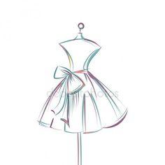 Dummy-Kleid Hand Zeichnung Vektor