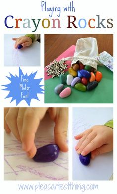 Crayon Rocks Art -fine motor skills perfect crayon for toddlers Preschool Art, Craft Activities For Kids, Infant Activities, Fun Crafts, Crafts For Kids, Arts And Crafts, Toddler Fun, Early Childhood, Kids Playing