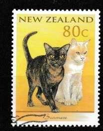 Postage Stamps New zealand Vintage Stamps, Vintage Cat, Art Postal, Gatos Cats, Postage Stamp Art, Cat Posters, Vanuatu, Fauna, Mail Art