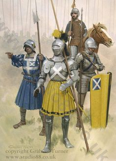 .Flodden 1513; William Graham, Earl of Montrose, with a soldier from his retinue, a French Sergeant and a Border horseman.