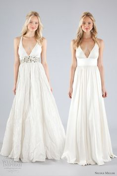 nicole miller bridal fall 2013 wedding dress straps plunging v neckline (Links to beauty lace dress as well)
