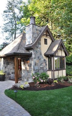 backyard Tudor cottage in Portland.need to add a cottage fireplace and chimney to my place Cozy Cottage, Cottage Style, Tudor Cottage, Storybook Cottage, Tudor House, Storybook Homes, Fairytale Cottage, Cabins And Cottages, Small Cottages