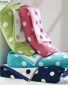 Our Dot to Dot Towels come with jacquard-woven white dots on a vibrant solid ground. Our polka dot towels are featured on soft and absorbent Egyptian combed cotton. Polka Dot Party, Polka Dots, Dot Day, Connect The Dots, Colour Board, Towel Set, Decoration, Gingham, Baby Car Seats