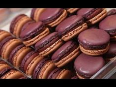 A nice tutorial review from the famed Pierre Herme in Paris on how to make those little French Macarons with a twist! These are Chocolate and Cassis macaron biscuit pairings with a chocolate cassis ganache and cassis berries for the center filling. It looks rich!